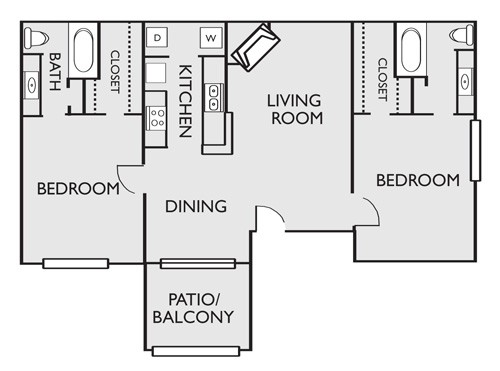 980 sq. ft. B5 floor plan
