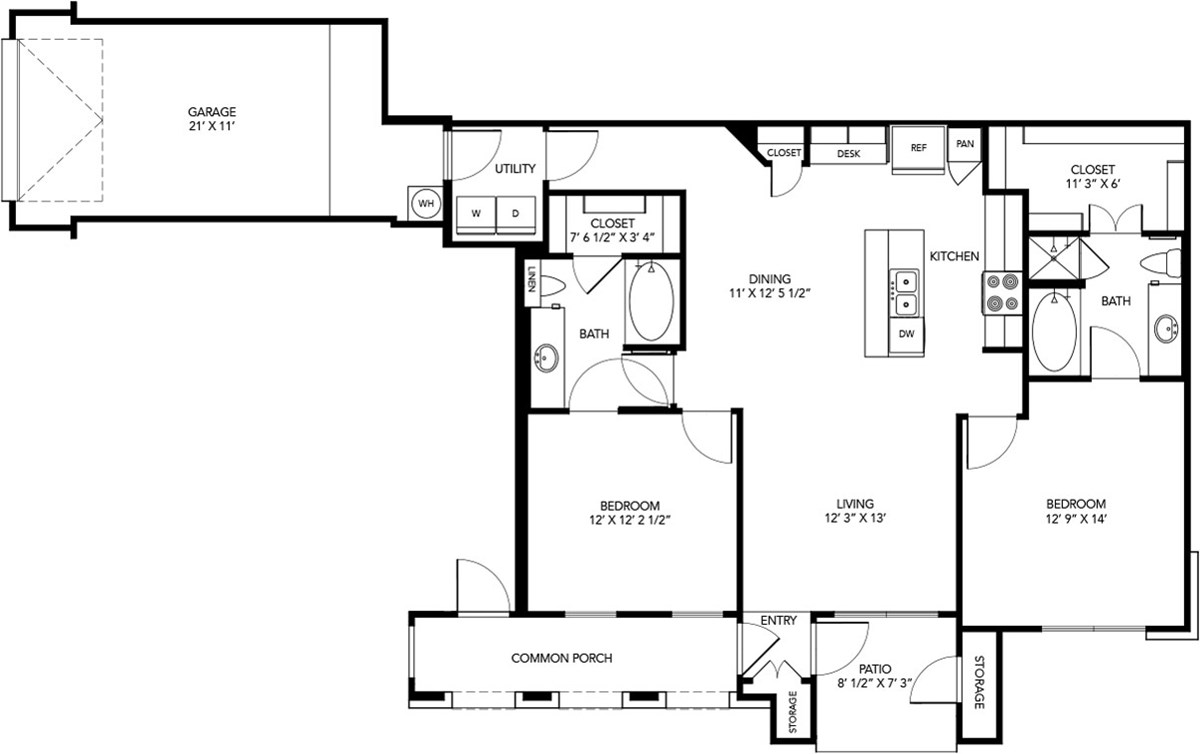 1,153 sq. ft. B1 floor plan