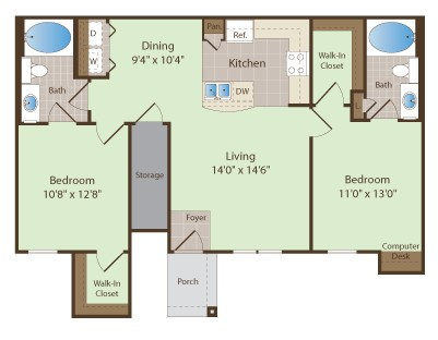 1,041 sq. ft. VAN ZANT floor plan