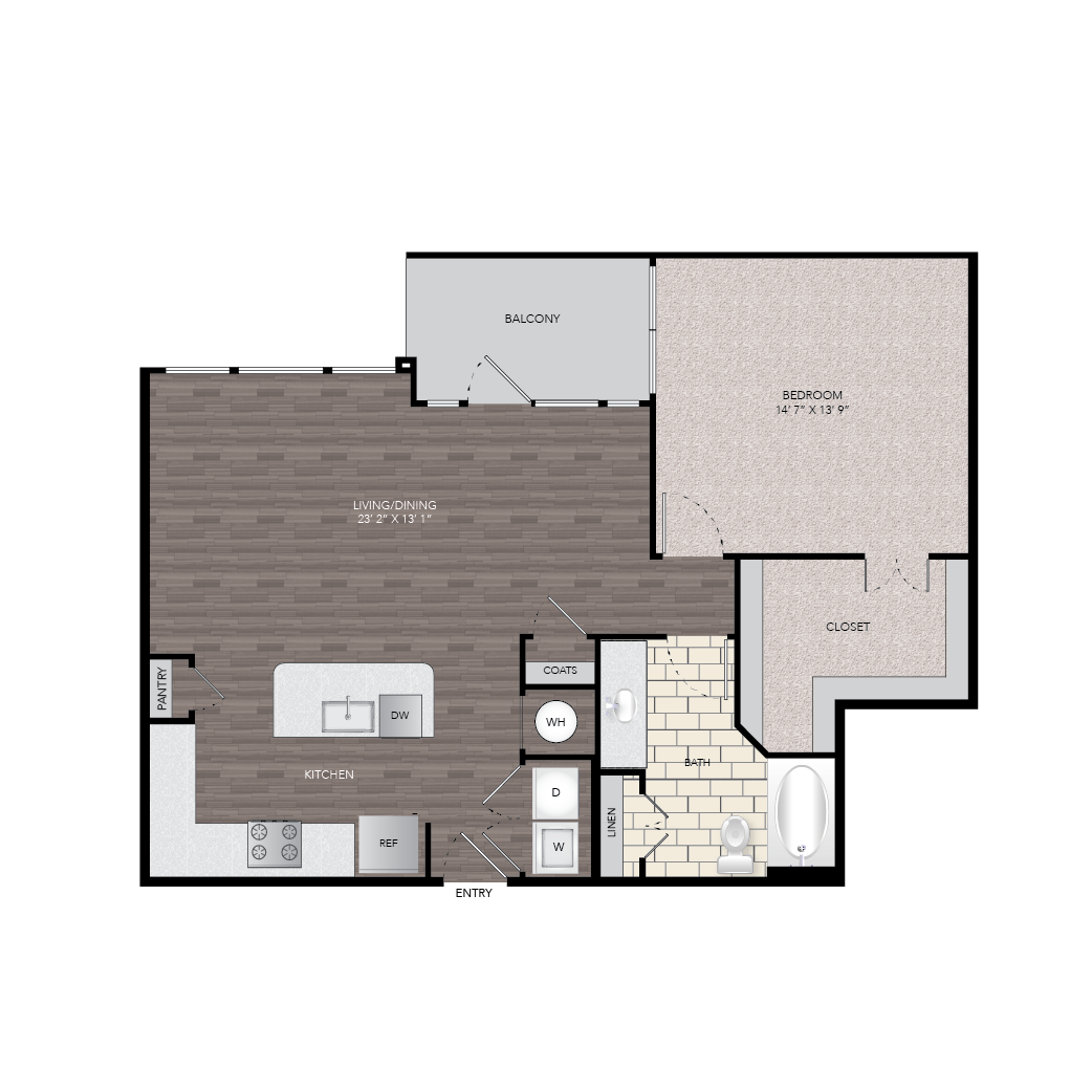 985 sq. ft. floor plan