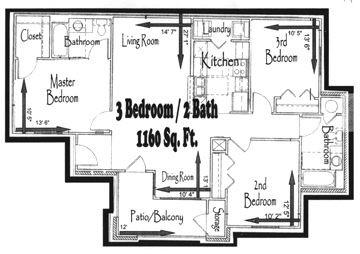 1,160 sq. ft. 60% floor plan