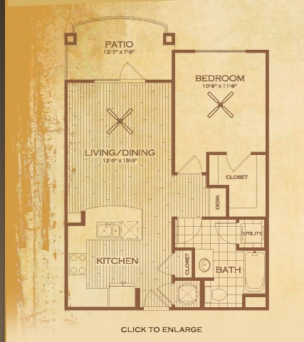 684 sq. ft. A1 Austin floor plan