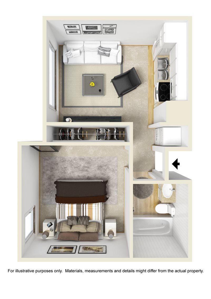 480 sq. ft. EFF/ABP floor plan
