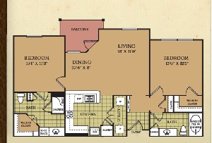 1,122 sq. ft. B3 floor plan