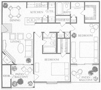 1,067 sq. ft. E floor plan