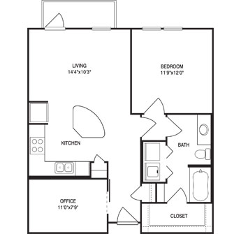 846 sq. ft. floor plan