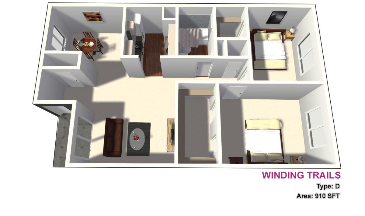 910 sq. ft. D floor plan