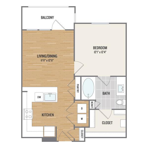 623 sq. ft. A1 floor plan