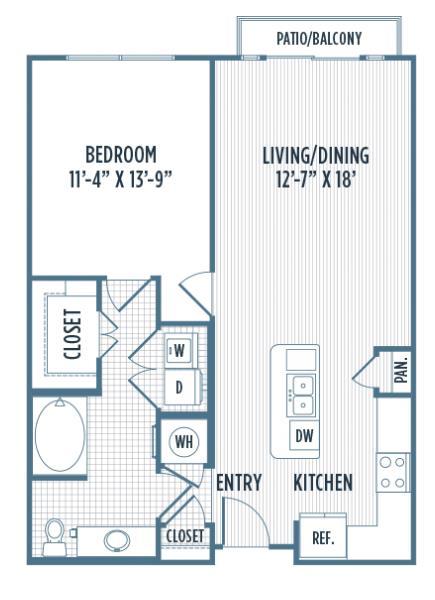 808 sq. ft. A3 ALT floor plan