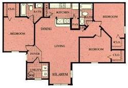 1,075 sq. ft. 60% floor plan