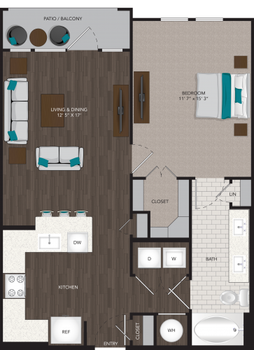 774 sq. ft. A2 floor plan