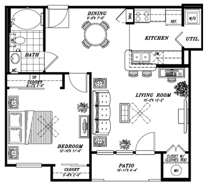 749 sq. ft. A1E floor plan