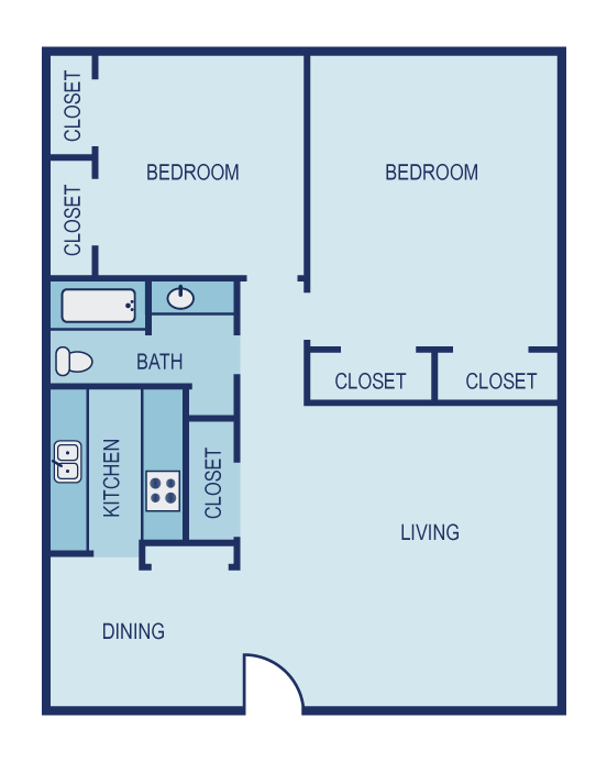 932 sq. ft. B2 floor plan