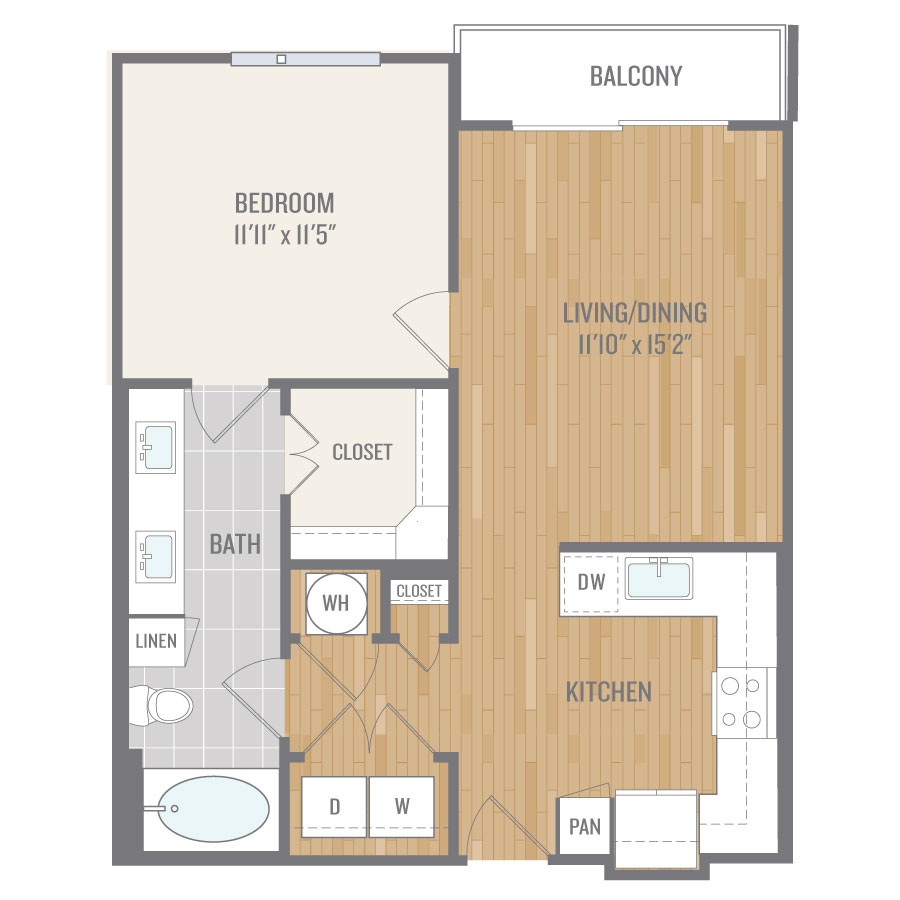 727 sq. ft. A4 floor plan