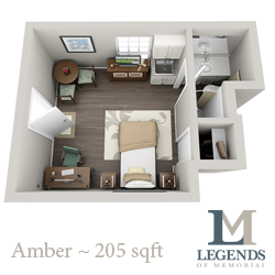 205 sq. ft. Amber floor plan