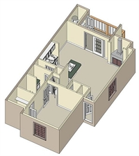 748 sq. ft. A4 floor plan