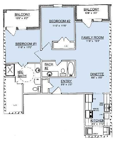 1,135 sq. ft. B1 floor plan