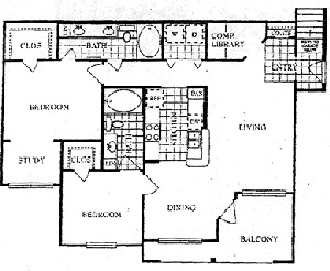 1,305 sq. ft. L floor plan