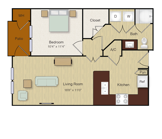 608 sq. ft. A5 floor plan