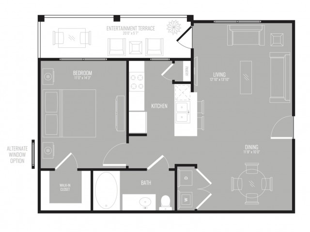 726 sq. ft. Downtown floor plan