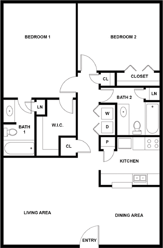 1,040 sq. ft. H floor plan