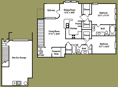 1,323 sq. ft. E2* floor plan