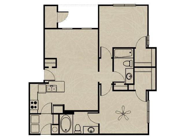 955 sq. ft. WNRB2 2X2/ GARAGE floor plan