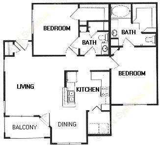 1,057 sq. ft. D floor plan