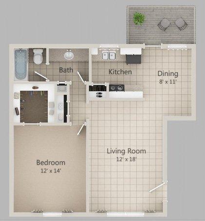 750 sq. ft. A1 floor plan