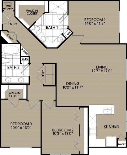 1,451 sq. ft. E1 floor plan