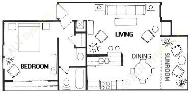 762 sq. ft. Merlon floor plan