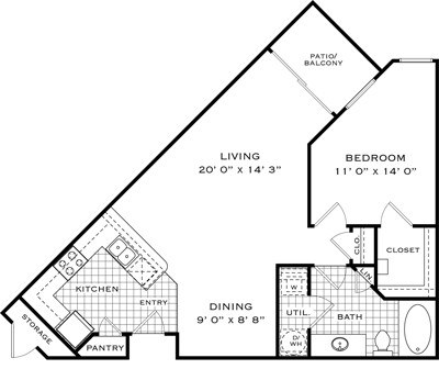832 sq. ft. A1F floor plan
