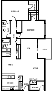 1,300 sq. ft. B5 floor plan