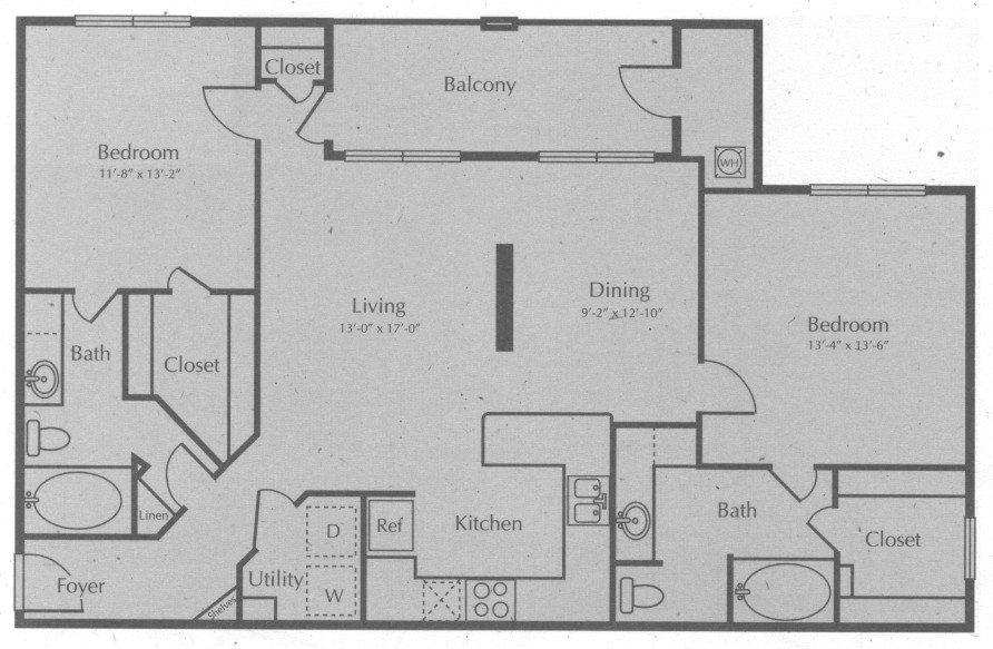 1,242 sq. ft. STONEWALL floor plan