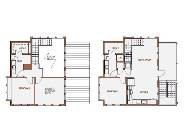 1,364 sq. ft. GS floor plan