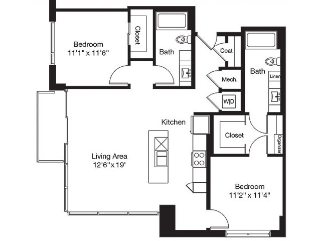 1,142 sq. ft. TA floor plan
