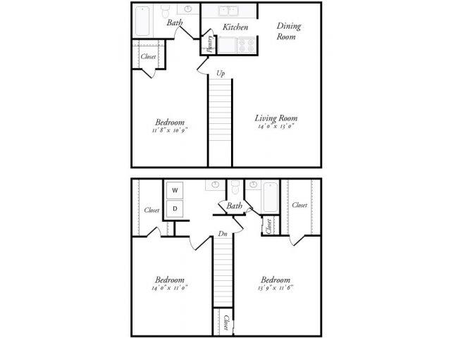 1,400 sq. ft. Santiago floor plan