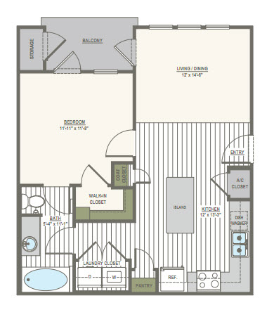 655 sq. ft. 1 floor plan