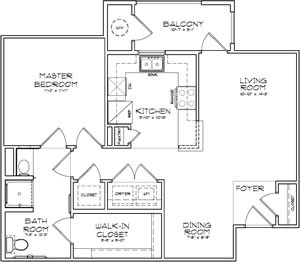 767 sq. ft. Milan 30% floor plan