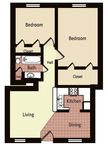 840 sq. ft. H floor plan