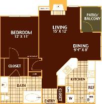 769 sq. ft. PINE/A3 floor plan