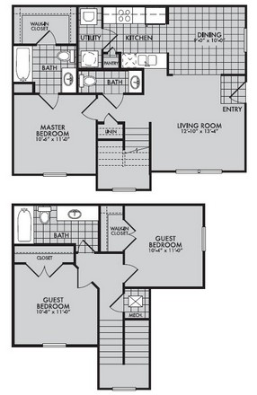 1,149 sq. ft. to 1,196 sq. ft. 60 floor plan