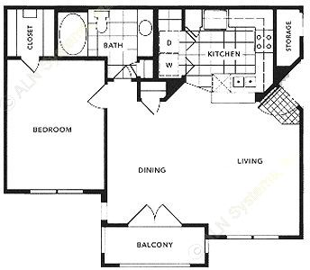 764 sq. ft. A2/SOHO floor plan