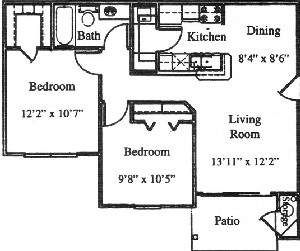 762 sq. ft. B1/60% floor plan