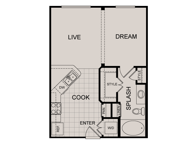 540 sq. ft. Avalon floor plan