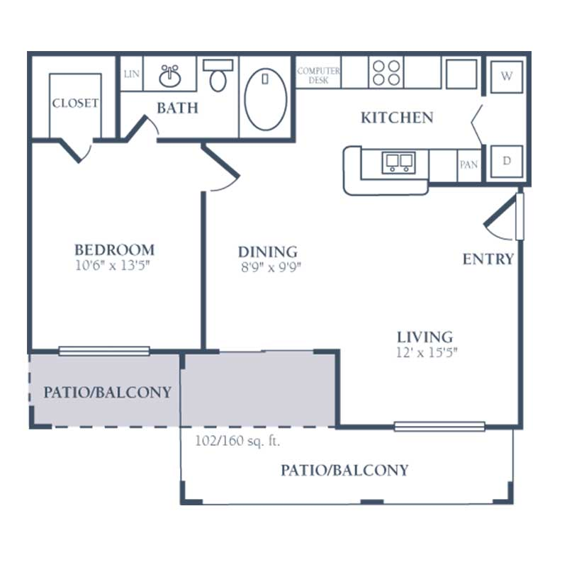711 sq. ft. B floor plan