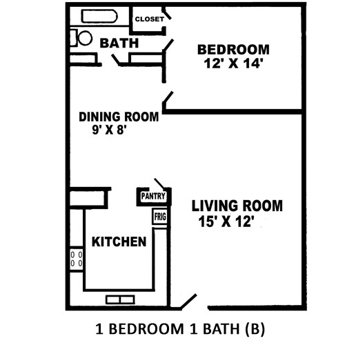 520 sq. ft. B floor plan