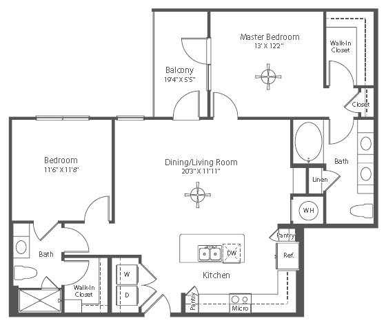 1,133 sq. ft. to 1,148 sq. ft. B1 floor plan