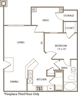 706 sq. ft. Kent floor plan