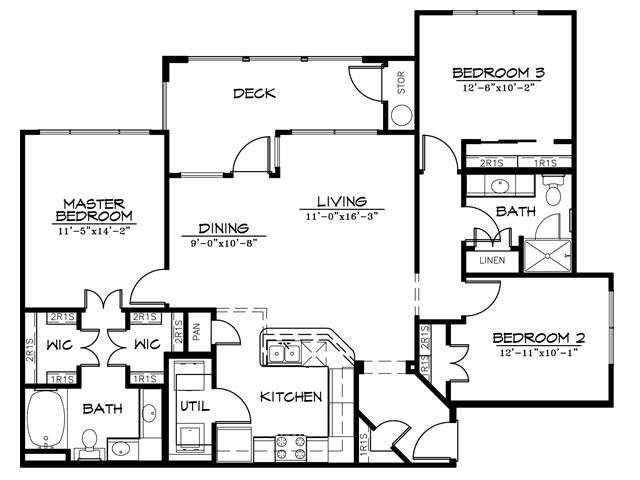 1,310 sq. ft. C2AR floor plan